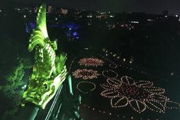 岡山城に光の地上絵
